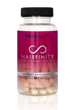 Hairfinity Healthy Hair Complex is a natural dietary supplement formulated with essential vitamins and nutrients. The nutritional supplement, featuries an exclusive Capilsana Complex, which promotes longer, fuller and shinier hair for all hair types with visible results in as little as 30 days. Hairfinity's national slogan is 'Healthy Hair from the Inside Out'. Read more about the brand.