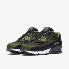 Buy the latest Nike Air Max 90 Premium Black/Legion Green/Palm Green/Anthracite Mens Shoes & Trainers, shop offers fast worldwide shipping. Running Sneakers, Running Shoes For Men, Air Max Sneakers, Sneakers Nike, Mens Running, Green Sneakers, Women's Sneakers, Custom Sneakers, Air Max 90 Premium