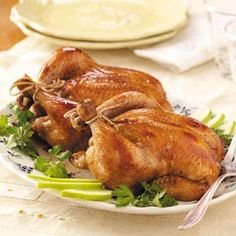 Cornish Hens  •2 Cornish game hens (20 to 24 ounces each)  •1/4 cup unsweetened apple juice  •3 tablespoons reduced-sodium soy sauce  •1 tablespoon browning sauce, optional