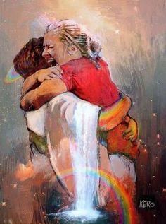 Coming home to Jesus! Giant hug! Joyful Prophetic Art with rainbow. He felt, He cried, He laughed, He loved #jesus #amen