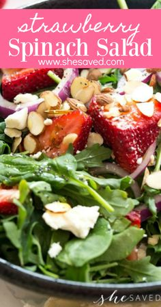 Such a yummy and healthy option, this strawberry spinach salad recipe with poppyseed dressing is one of our favorites! It's a fantastic summer lunch or dinner side salad, and has such a wonderfully refreshing kick to it! Taco Salad Recipes, Spinach Salad Recipes, Healthy Vegetable Recipes, Slaw Recipes, Asparagus Recipe, Healthy Salad Recipes, Fruit Recipes, Vegetarian Recipes, Healthy Food