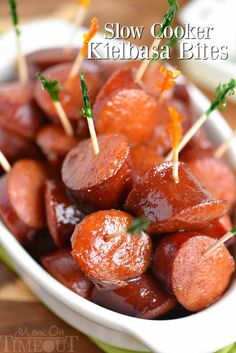 The best appetizer ever! These Slow Cooker Kielbasa Bites are so easy to make and are guaranteed to be a hit at your next party! Great over rice for dinner!
