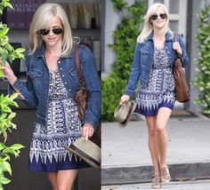 cute summer dress and denim jacket (worn by Reese Witherspoon)