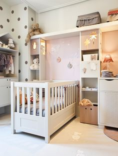 i love the polka dot walls! Baby Bedroom, Baby Boy Rooms, Nursery Room, Girls Bedroom, Nursery Decor, Nursery Storage, Bedroom Ideas, Kids Room Design, Nursery Design