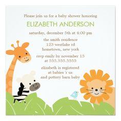 Jungle Safari Animals Baby Shower Card