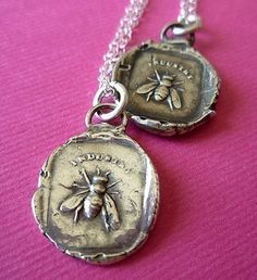 Busy Little Bee Antique Wax Seal Necklace