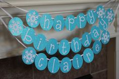 "personalized ""frozen"" happy birthday banner with glitter on Etsy, $24.00"