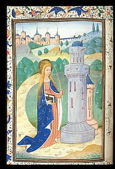 St Barbara, as depicted in a late-fifteenth-century southern Netherlandish book of hours; she is portrayed with a halo symbolising sanctity; a palm branch denoting martrydom; and her primary attribute: a tower (with three large windows, symbolising the Holy Trinity); (Harley 2985 f.39v). (British Library)
