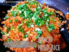 Spicy Kimchi Fried Rice in 15-minutes!  #recipe available at #kitchenmissus