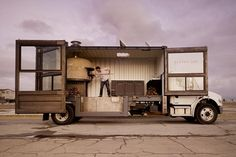 Mobile pizza kitchen made from shipping container.
