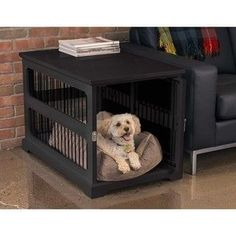 (paid link) how to dress up a dog crate #diydogcrate Dog Crate End Table, Diy Dog Crate, Cat Playpen, Cat Fence, Dog Crate Furniture, Dog Kennel Cover, Pet Kennels, Dog Cages, Pet Gate