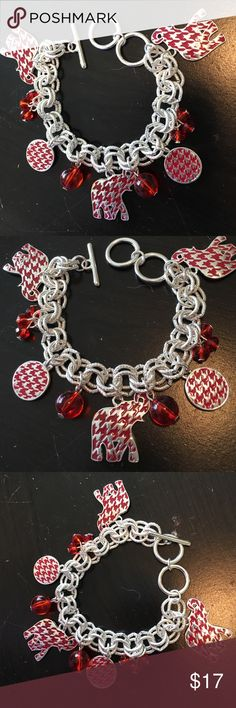 """Bracelet Red Elephant with silver tone Bracelet Red Elephant with silver tone.  Red and silver houndstooth elephants and red beads.  Never been worn.   Approximately 7"""" long. Jewelry Bracelets"""