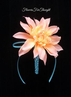 Peach Dahlia Boutonniere Mens Wedding Flower by FlowersForThought