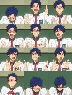 Rei blushed expressions, I really don't like this character but it looks so cute… Anime Manga, Anime Guys, Japanese Animated Movies, Cute Nerd, Splash Free, Free Eternal Summer, Free Iwatobi Swim Club, Makoharu, Kyoto Animation
