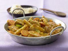 Hähnchen-Spargel-Pfanne mit Curry | Kalorien: 279 Kcal - Zeit: 20 Min. | http://eatsmarter.de/rezepte/haehnchen-spargel-pfanne-curry