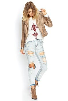 Textured Faux Leather Jacket   FOREVER 21 - 2000067095