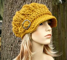 Hand Crocheted Hat Womens Hat - Monarch Ribbed Crochet Newsboy Hat in Golden Mustard Yellow - READY TO SHIP Fall Fashion Women Hat