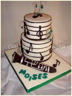 TORTA DECORADA MUSICAL CON CLARINETE | TORTAS CAKES BY MONICA FRACCHIA