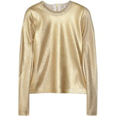 Moschino Metallic wool-blend sweater (3.595.270 IDR) ❤ liked on Polyvore featuring tops, sweaters, shirts, gold, moschino, moschino shirt, moschino sweater, brown shirts and fitted shirts