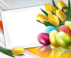 Happy Easter with spring tulips Easter Wallpaper, Greetings Images, Frame Background, Happy Easter, Easter Eggs, Tulips, Invitations, Spring, Cards