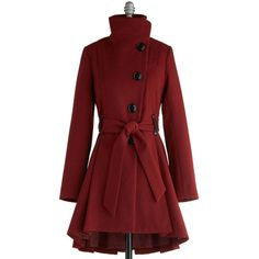 Steve Madden 50s Long Long Sleeve Winterberry Tart Coat ($150) ❤ liked on Polyvore featuring outerwear, coats, jackets, red, coats & jackets, apparel, long coat, long sleeve coat, red coat and high collar coat