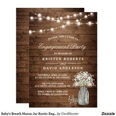 Baby's Breath Mason Jar Rustic Engagement Party Card