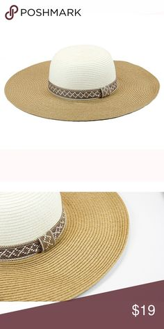 New women's aztec band floppy hat Paper straw 2 tone floppy hat with aztec pattern band. 4.5 inch brim one size fits most women(head circumference is about 57cm) The Hatter Company Accessories Hats