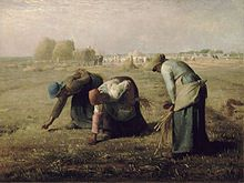 "Jean-François Millet: ""The Gleaners"", 1857, oil on canvas, Dimensions	83.5 × 110 cm (32.9 × 43.3 in),?Current location: Musée d'Orsay, Paris, France."