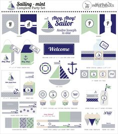 Sailing Party Printable Complete Set in 4 colorways: navy + grey plus mint green, yellow, baby blue or pink. $20.00, via Etsy.