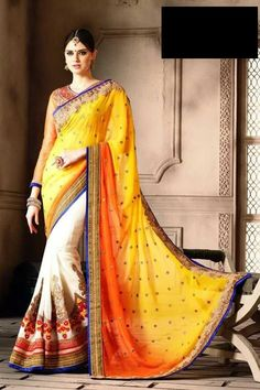 Beautiful Yellow And White Georgette Party Wear Saree - Z