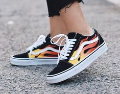 893b67dbfb0 Vans Old Skool Flame Womens Size 5 Mens Size 3.5 Black Red Yellow  Multi-Color
