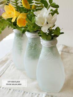 diy painted sea glass salsa jars, diy home crafts, painting, repurposing upcycling
