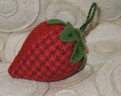 Pin Cushion - Strawberry -  Red Felted Wools