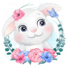 Cute Little Bunny Portrait With Floral Baby Animal Drawings, Cute Animal Drawings Kawaii, Cute Cartoon Wallpapers, Cartoon Pics, Cute Animal Illustration, Watercolor Illustration, Cute Baby Bunnies, Bunny, Animal Illustrations