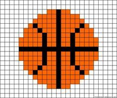 Basketball perler bead pattern or fabric squares for a blanket Perler Bead Designs, Perler Bead Templates, Perler Bead Art, Perler Patterns, Loom Patterns, Perler Beads, Beading Patterns, Cross Stitching, Cross Stitch Embroidery