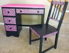Refurbished desk into pink and black cheetah print design. Diy Furniture Fix, Homemade Furniture, Repurposed Furniture, Furniture Making, Painted Furniture, Refurbished Desk, Room Design Bedroom, Girls Bedroom, Bedroom Ideas