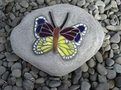 Mosiac butterfly on rock #mosaic #rockart