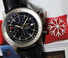 """""""Resting Snowflakes!"""" #Breitling 46mm Navitimer World, circa 2006 Ref#: A24322 ($4,475.00 USD) http://www.elementintime.com/Breitling-Navitimer-World-A24322-Stainless-Steel-Black-Dial-Used"""