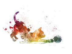 Kitten Playing with Wool ART PRINT Illustration Cat by SubjectArt