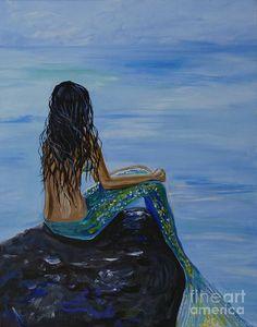 Mermaid Art | Mermaid Magic Painting by Leslie Allen - Mermaid Magic Fine Art Prints ...