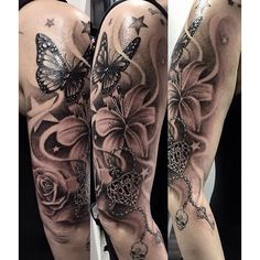 Some more fun of this week! #ink #sleeve #rose #lily #butterfly #heart #skull #key #star #tattoo