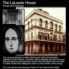 The LaLaurie Mansion is often cited as one of the most haunted buildings in New Orleans, Louisiana. With a frightfully grim and macabre history painted by the torturous murders that took place with. Creepy Stories, Ghost Stories, Horror Stories, Most Haunted Places, Spooky Places, Creepy Facts, Creepy Things, Scary Stuff, Creepy Dude