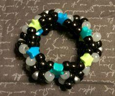 Puffy X-Base Kandi Cuff: Lime and Lime Star Beads & Black, Silver, White(glow)… Kandi Cuff, Pony Beads, Black Silver, Lime, My Etsy Shop, Glow, Stars, Trending Outfits, Unique Jewelry
