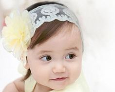 Flower Hair Bows For Toddlers Infant Baby Girl Princess Headband Hair Band Headwear accessories Crochet Lace princess pattern Size S Yellow Princess Hairstyles, Headband Hairstyles, Girl Hairstyles, Flower Hair Bows, Lace Flowers, Diy Flower, Baby Bows, Baby Headbands, Diy Headband