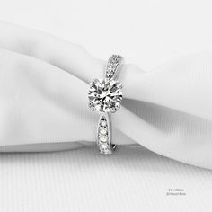 1ct Round Cut Reverse Tapered Cubic Zirconia 925 Sterling Silver Engagement Ring - CZ, Moissanite & Simulated #SterlingSilverEngagement #moissantinering #roundcutmoissaniterings