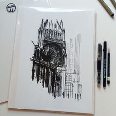 "Archbishop Quigley Center. 12""x18"" giclée print of original ink drawing. © Andrew Banks 2015"
