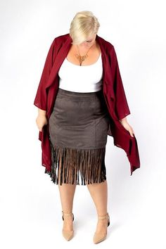 Plus Size Clothing for Women - Fringed Skirt - Charcoal (Sizes 12 - 18) - Society+ - Society Plus - Buy Online Now!