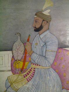 """""""Rajah Balwant Singh and his hawk. By Nainsukh, c1740. Utterly beautiful"""""""