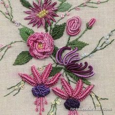 Brazilian Embroidery is different from surface embroidery & stumpwork in that it is a very dimensional embroidery. It makes use of woven picots, lots of French knots, bullion stitches, cast on stitch, drizzle stitch, and so forth.