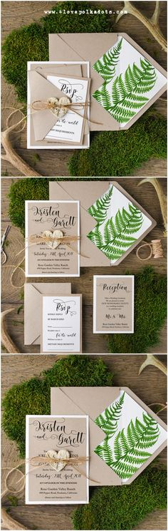 Maybe use a real fern or other flower to stamp the design on paper, then print the invitations?